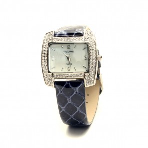 Crystal paved cushion shape watch with midnight blue python strap