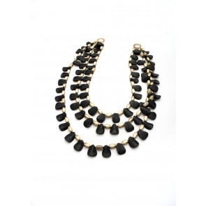 Black jet & gold triple stand necklace