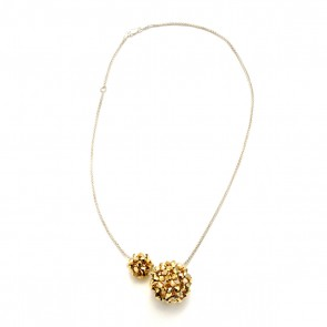 Swarovski crystal mod ball necklace in gold or silver