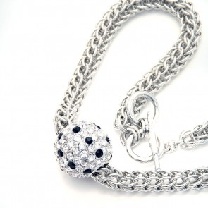 Rope necklace with large diamanté disco ball