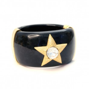 Resin bangle with gold star, crystal detail