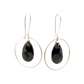 Hoop earrings w/ black Swarovski crystal