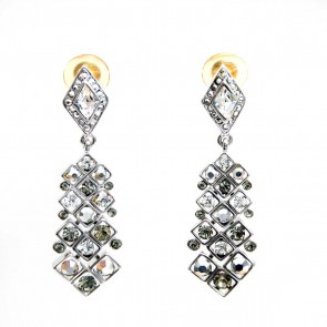 Pentagon dual tone smoke and crystal earrings