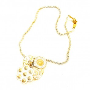 Multi-charm white with gold rope-style necklace