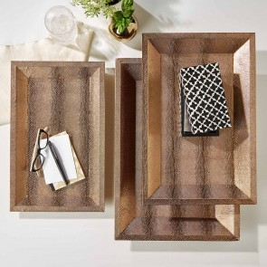 Rectangle Decorative Trays Bronze Shagreen Vegan Leather