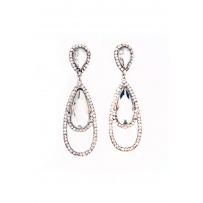 Rhinestone and crystal teardrop earrings