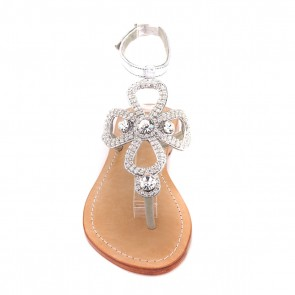 'Rhodes' Crystal Embellished Leather Sandals