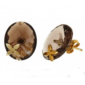 Smokey topaz floral post earrings
