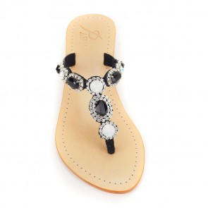 Sao Paulo Wedge Sandal w/ Milky-Black Gemstones