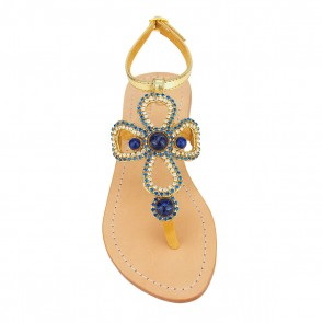 'St. John' Crystal-embellished Metallic Leather Sandals
