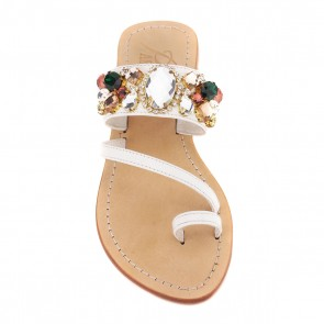 'St. Cyricus' Crystal Embellished Leather Sandals