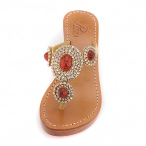 'Sylt' Wedge Sandal with Resin Stone