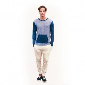 Dusty blue colorblock crew neck linen shirt